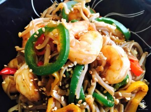 Buckwheat Angel Hair with Sweet and Spicy Shrimp and Peppers 2