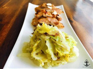 Sweet and Spicy Mustard Chicken with Sauteed Napa Cabbage, Onions, and Almonds 2