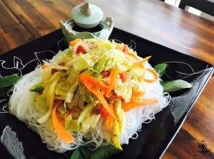 Tri-Color Stir Fried Vegetables with Rice Noodles and Soy Sesame Sauce 1