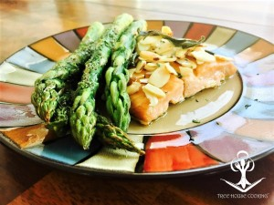 Baked Salmon with Sage Butter, Roasted Almonds, and Seasoned Asparagus 1