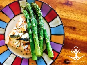Baked Salmon with Sage Butter, Roasted Almonds, and Seasoned Asparagus 2