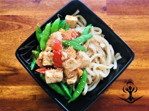 Udon Noodles with Tofu, Snap Peas and Tomato 2