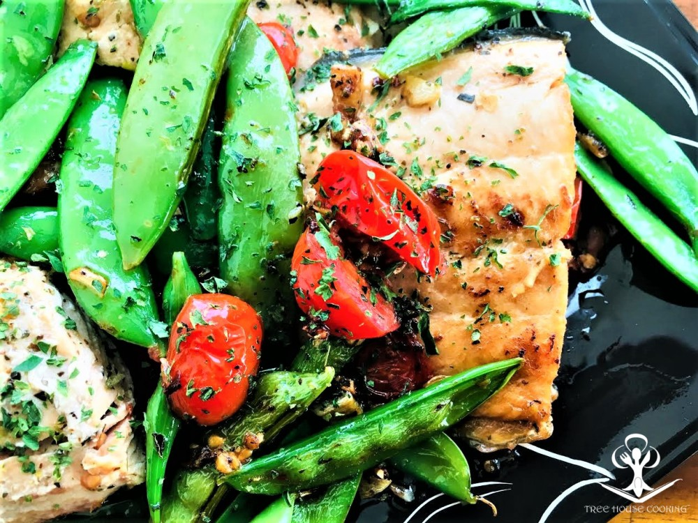 Butter Salmon with Seasoned Snow Peas and Cherry Tomatoes