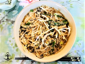 Japanese Noodles with Bean Sprouts, Spring Onion, and Mushrooms in a Light Sesame Chicken 2